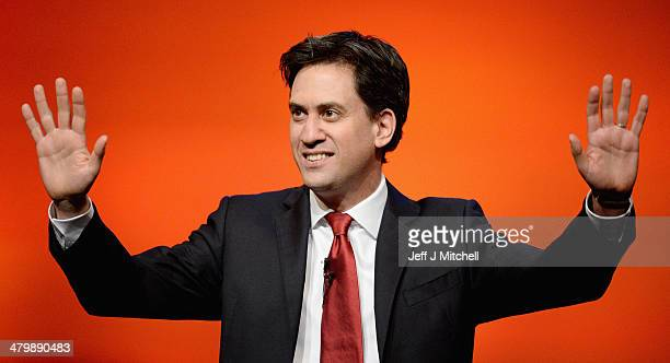 Ed Miliband leader of the Labour Party gives his speech to the Scottish Labour conference on March 21 2014 in Perth Scotland Mr Milibandtold party...