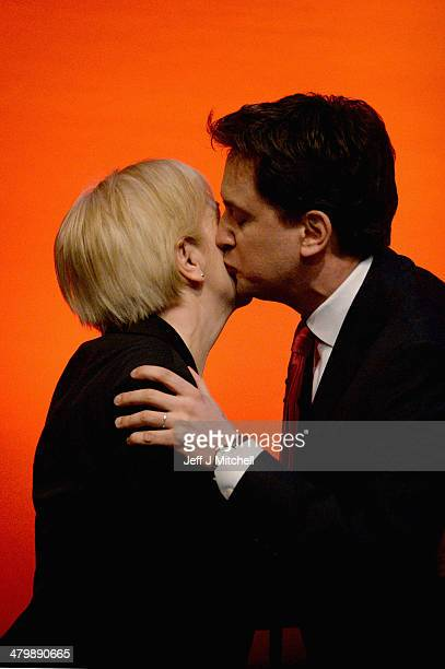 Ed Miliband leader of the Labour Party is greeted by Scottish Labour Party leader Johann Lamont before his speech to the Scottish Labour conference...