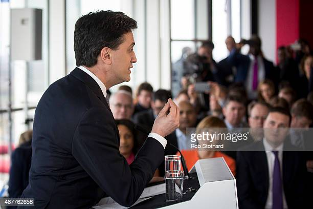 Ed Miliband leader of the Labour Party speaks at the launch of his political party's general election campaign at the ArcelorMittal Orbit at Olympic...