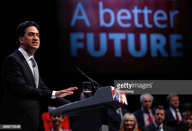 Ed Miliband leader of the UK opposition Labour Party speaks as he unveils the party's 2015 general election manifesto in Manchester UK on Monday...