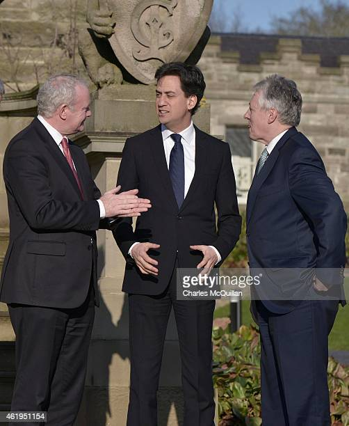 Ed Miliband meets with Deputy First Minister Martin McGuinness and First Minister Peter Robinson at Stormont Castle on January 22, 2015 in Belfast,...