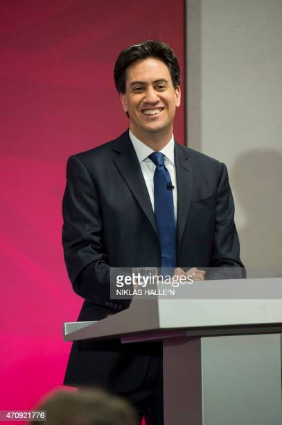 Ed Miliband MP leader of the opposition and the chief of the Labour party takes a selfie with a supporter after a Question and Answer session in...