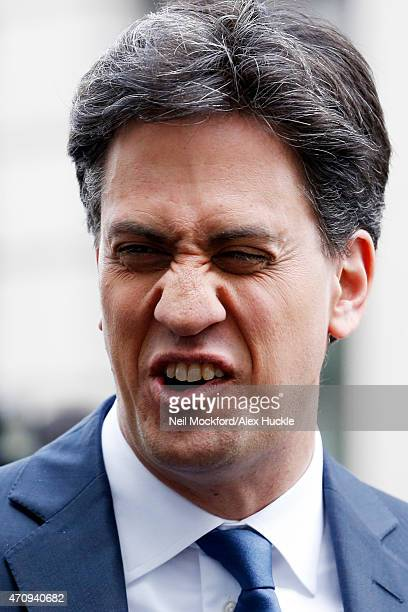 Ed Miliband seen leaving the BBC Radio 1 Studios on April 24 2015 in London England