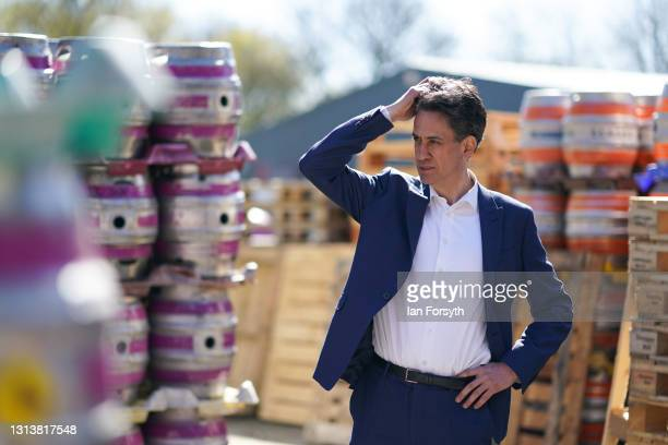 Ed Miliband, Shadow Secretary of State for Business, Energy and Industrial Strategy visits the Ilkley brewery on April 22, 2021 in Ilkley, England....