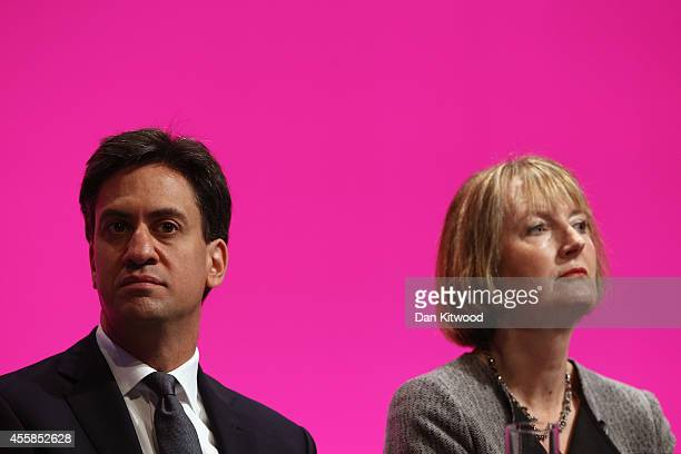 Ed Miliband the Leader of the Labour Party and Harriet Harman Deputy Leader listen to speaches on stage on day one of the Labour party Conference on...