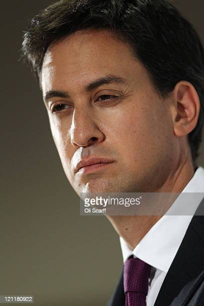 Ed Miliband the leader of the Labour Party delivers a speech on society at his old school Haverstock Comprehensive in Chalk Farm on August 15 2011 in...