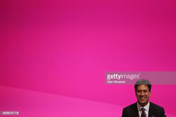Ed Miliband the Leader of the Labour Party listens to speeches on day two of the Labour party Conference on September 22 2014 in Manchester England...