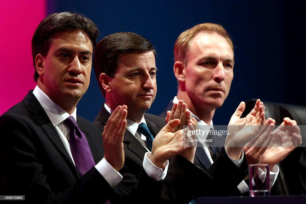 Ed Miliband, the Leader of the Labour Party, Shadow Foreign Secretary Douglas Alexander and Britain's shadow Secretary of State for International Development Jim Murphy listen to speaches during day two of the Labour party Conference on September 22, 2014 in Manchester, England. The four-day annual Labour Party Conference opened in Manchester yesterday and is expected to attract thousands of delegates with keynote speeches from influential politicians and over 500 fringe events.