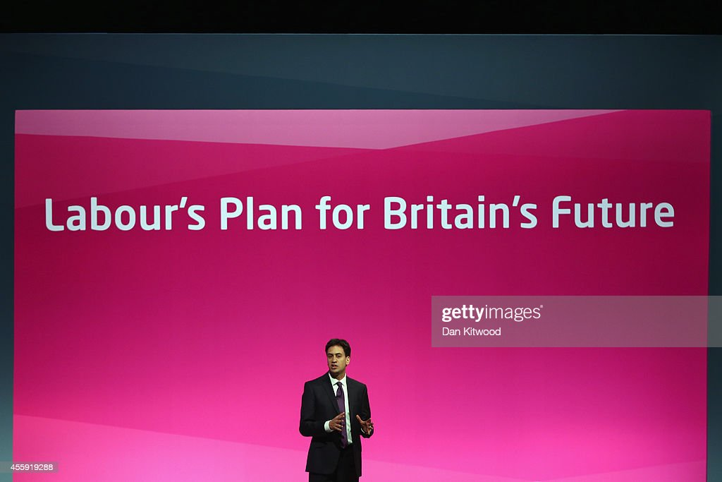 Ed Miliband, the Leader of the Labour Party speaks to delegates in the main conference hall on day two of the Labour party Conference on September 22, 2014 in Manchester, England. The four-day annual Labour Party Conference opened in Manchester yesterday and is expected to attract thousands of delegates with keynote speeches from influential politicians and over 500 fringe events.