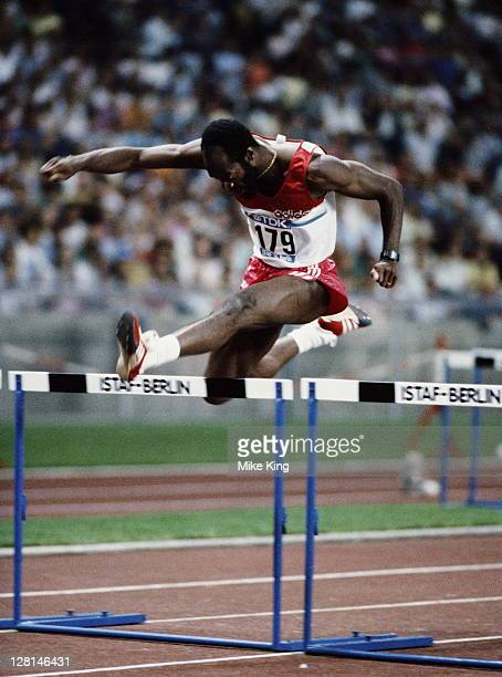 Ed Moses of the United States during the Men's 400 metres hurdles event at the Mobil 1 Grand Prix Athletics on 21st August 1986 at the Olympic...