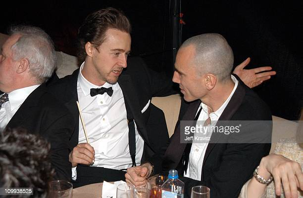 Ed Norton and Daniel Day Lewis during Miramax 2003 Golden Globes Party Sponsored by Glamour Magazine and Coors at Trader Vic's in Beverly Hills CA...