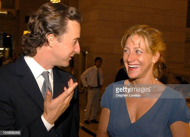 Ed Norton and Edie Falco during Friends of The High Line Benefit at Vanderbilt Hall at Grand Central Station in New York City, NY, United States.