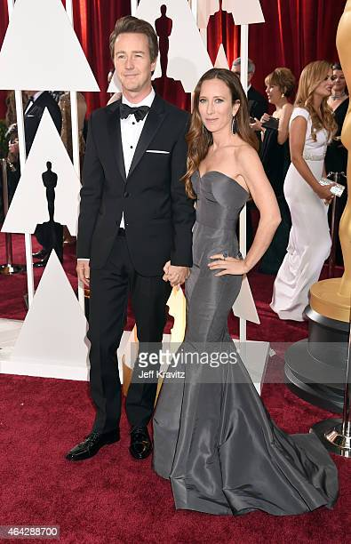 Ed Norton and Shauna Robertson attend the 87th Annual Academy Awards at Hollywood Highland Center on February 22 2015 in Hollywood California
