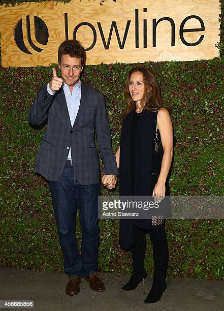 Ed Norton and Shauna Robertson attend the Lowline AntiGala Benefit Dinner at Skylight Modern on October 8 2014 in New York City