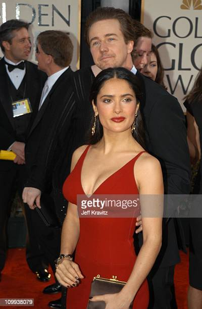 Ed Norton Salma Hayek during The 60th Annual Golden Globe Awards Arrivals at Beverly Hilton Hotel in Beverly Hills CA United States