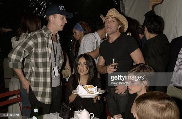 Ed Norton Salma Hayek Jon Bon Jovi The After Show Party Of The Concert For New York At Ian Scragger's Hotel The Hudson In Manhattan The Party Went On...