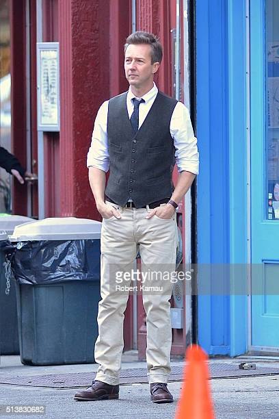 Ed Norton seen on set of Colletaral Beauty on March 4 2016 in East Village New York City