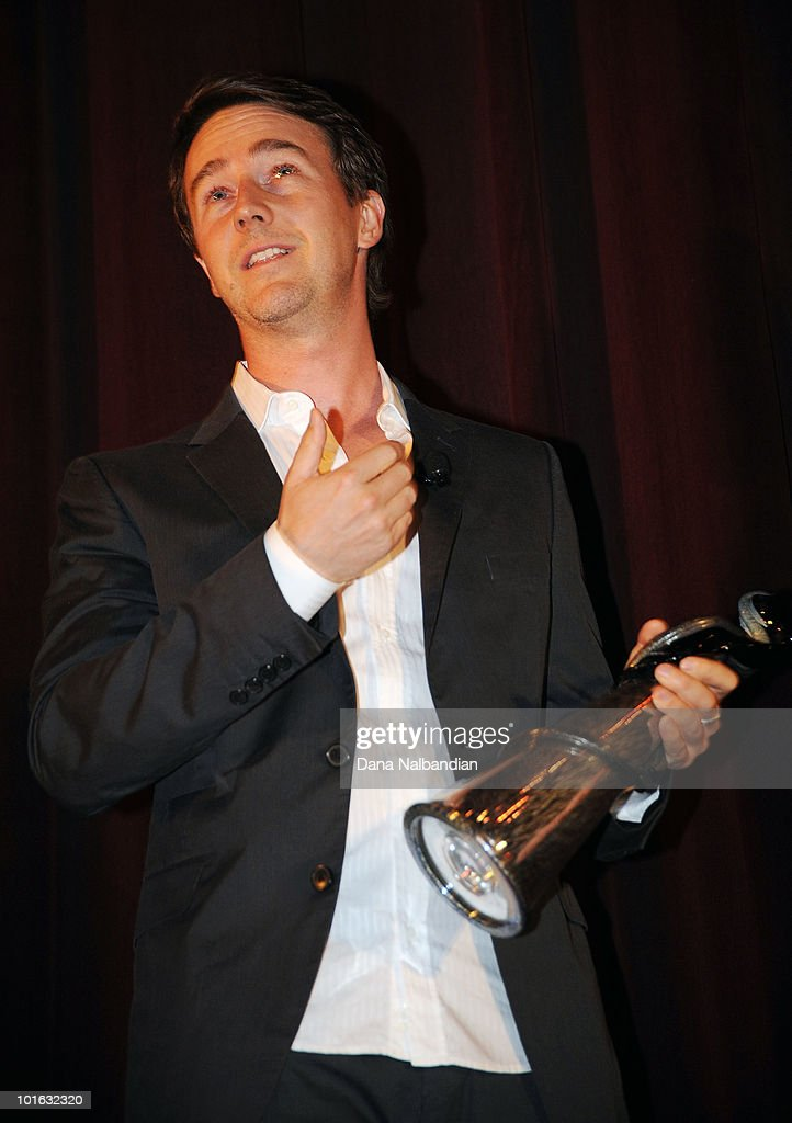 Ed Norton with Golden Space Needle Award for excellence in acting at Egyptian Theater, Seattle on June 4, 2010 in Seattle, Washington.