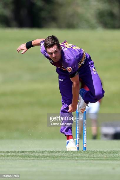 Ed Nuttall of Canterbury bowls during the Twenty20 Supersmash match between Otago and Canterbury on December 26 2017 in Alexandra New Zealand