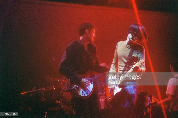 Ed O'Brien Jonny Greenwood and Colin Greenwood of Radiohead perform on stage at the Glastonbury Festival on June 28th 1997 in Glastonbury England