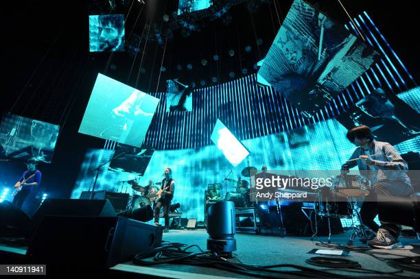 Ed O'Brien Phil Selway Thom Yorke Colin Greenwood Clive Deamer and Jonny Greenwood of Radiohead performs on stage at The Frank Erwin Center on March...