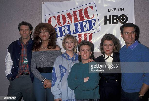 Ed O'Neill Katey Sagal Christina Applegate David Faustino Amanda Bearse and David Garrison attending 'Comic Relief III' on March 18 1989 at the...