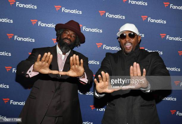 Ed Reed and Ray Lewis arrive at the Fanatics Super Bowl Party at College Football Hall of Fame on January 5 2019 in Atlanta Georgia