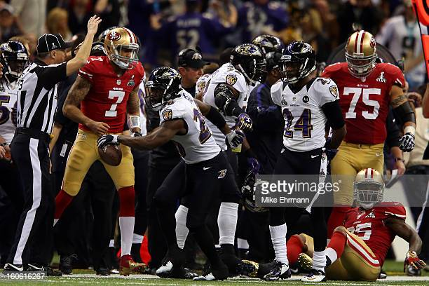 Ed Reed of the Baltimore Ravens celebrates after intercepting a pass from Colin Kaepernick of the San Francisco 49ers in the second quarter during...