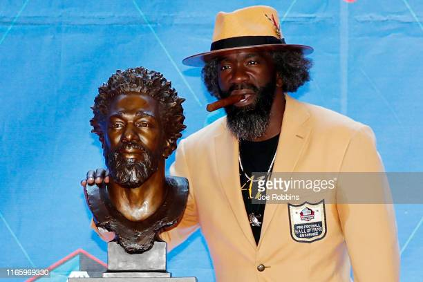 Ed Reed with his bust during his enshrinement into the Pro Football Hall of Fame at Tom Benson Hall Of Fame Stadium on August 3 2019 in Canton Ohio