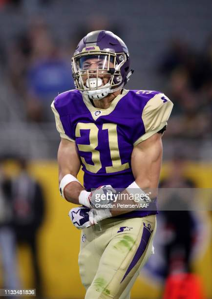 Ed Reynolds Jr #31 of the Atlanta Legends reacts to a safety during the second quarter of the Alliance of American Football game against the Arizona...