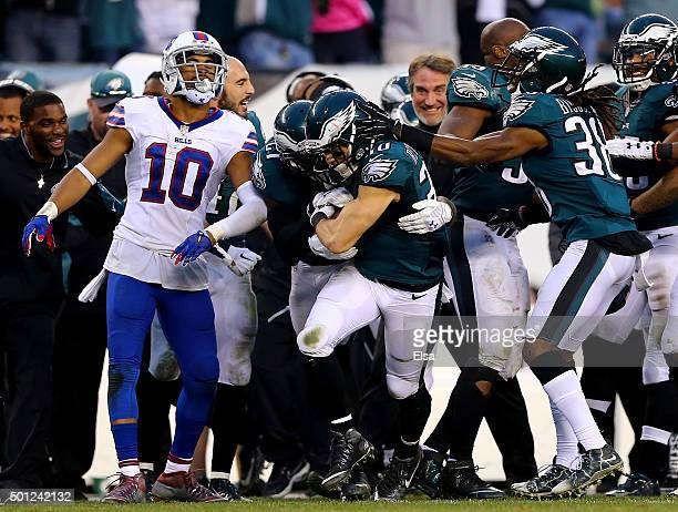 Ed Reynolds of the Philadelphia Eagles is congratulated by teammates after he picked off a pass intended for Robert Woods of the Buffalo Bills in the...