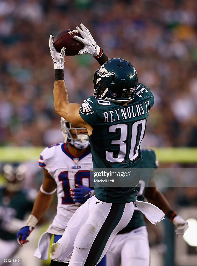 Ed Reynolds #30 of the Philadelphia Eagles makes an interception at the end of the fourth quarter to win the game 23-20 against the Buffalo Bills at Lincoln Financial Field on December 13, 2015 in Philadelphia, Pennsylvania.