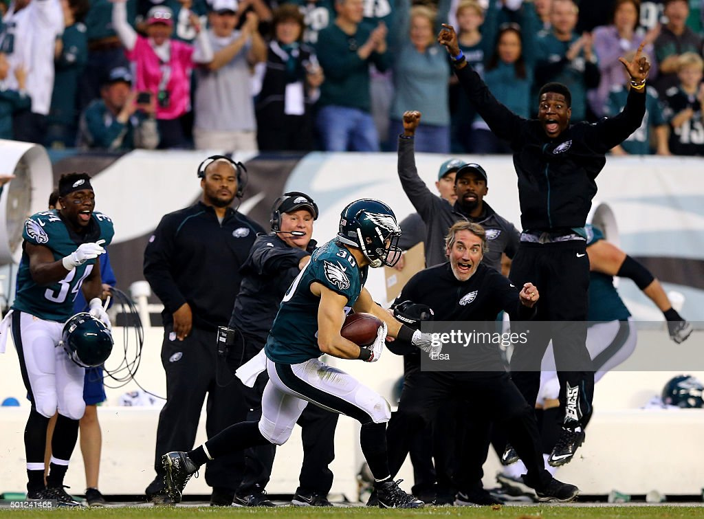 Ed Reynolds #30 of the Philadelphia Eagles picks off a pass intended for Robert Woods of the Buffalo Bills in the final minute of the game at Lincoln Financial Field on December 13, 2015 in Philadelphia, Pennsylvania.The Philadelphia Eagles defeated the Buffalo Bills 23-20.