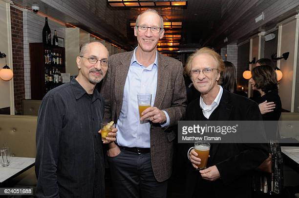 """Ed Robbins, Jay Keuper and Mark Suoozo pose together for a photo at the afterparty for the New York premiere of """"Swim Team"""" at DOC NYC on November..."""