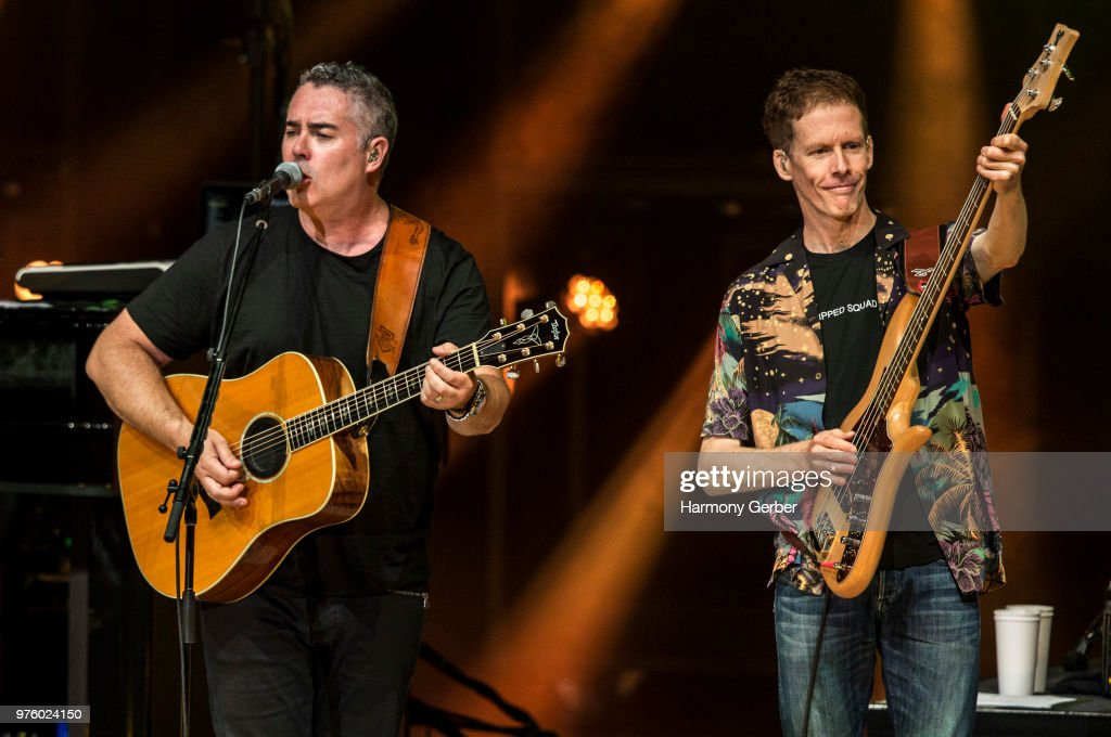 Ed Robertson and Jim Creeggan of the band Barenaked Ladies perform at The Greek Theatre on June 15, 2018 in Los Angeles, California.