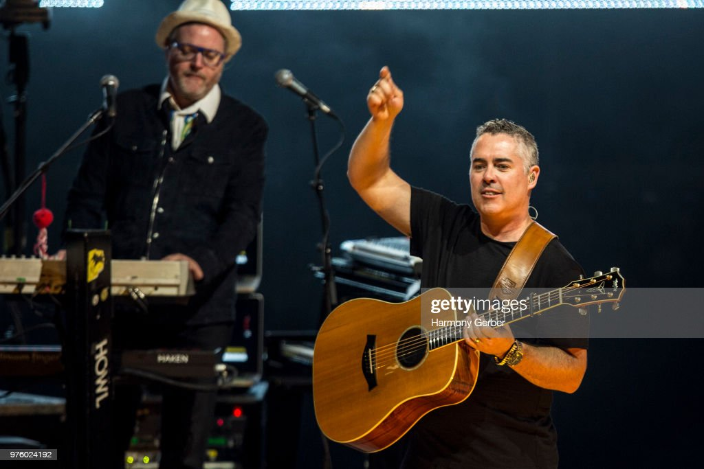 Ed Robertson and Steven Page of the band Barenaked Ladies perform at The Greek Theatre on June 15, 2018 in Los Angeles, California.