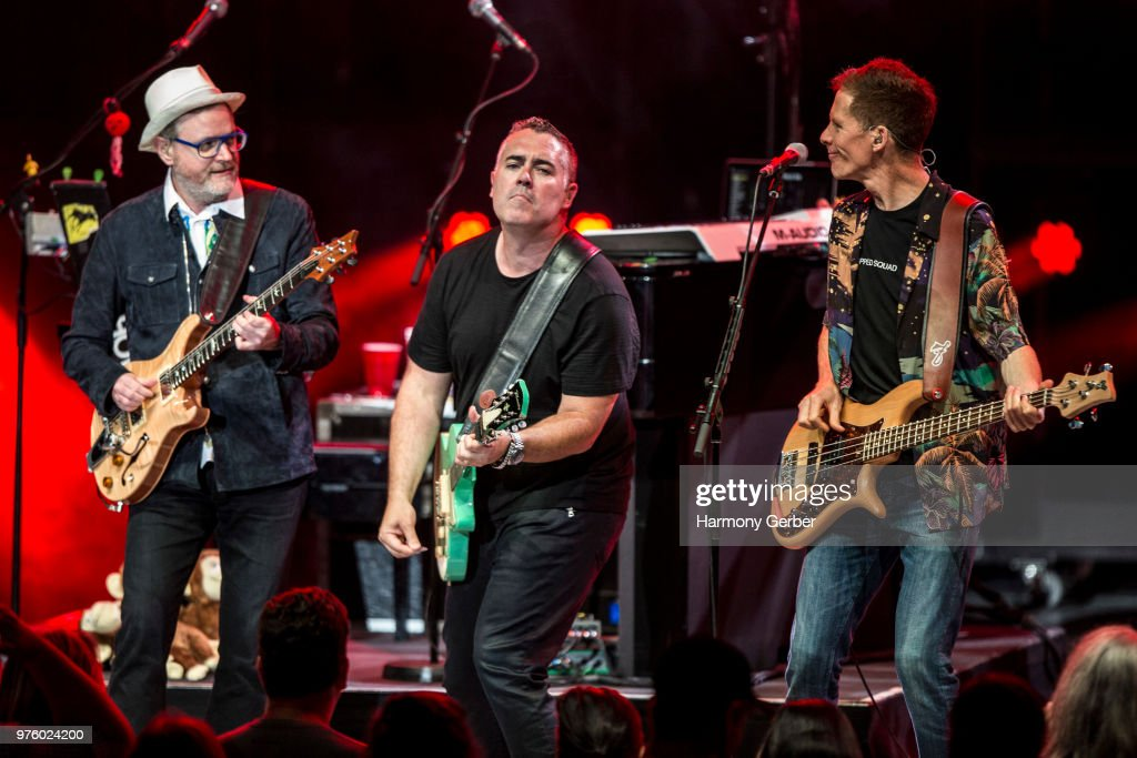 Ed Robertson, Jim Creeggan and Steven Page of the band Barenaked Ladies perform at The Greek Theatre on June 15, 2018 in Los Angeles, California.