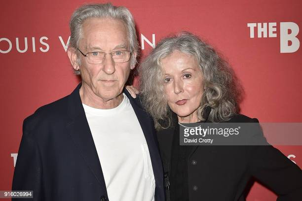 Ed Ruscha and Danna Knego attend the Jasper Johns: 'Something Resembling Truth' opening reception at The Broad on February 8, 2018 in Los Angeles,...