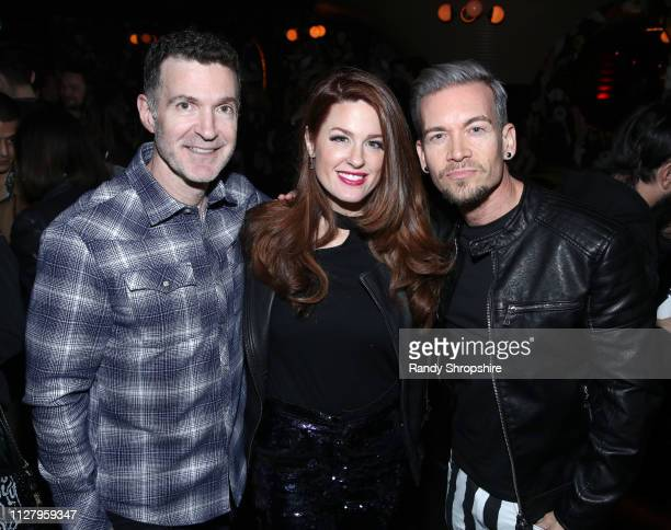 Ed Shapiro Hilary Roberts and Damon Sharpe attend Reed Smith Grammy Party at Nightingale Plaza on February 06 2019 in Los Angeles California