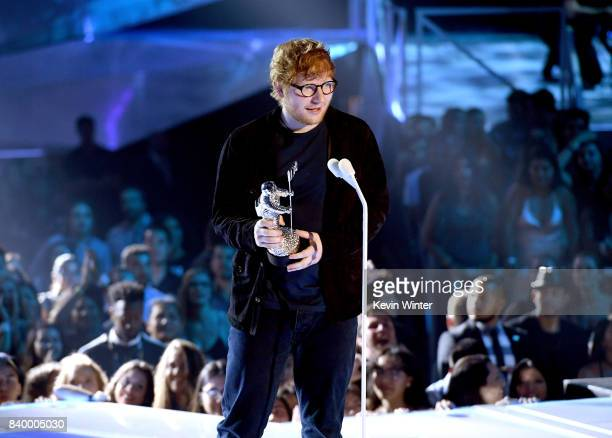 Ed Sheeran accepts the Artist of the Year award onstage during the 2017 MTV Video Music Awards at The Forum on August 27 2017 in Inglewood California