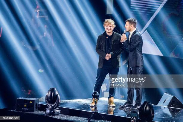 Ed Sheeran and Alessandro Cattelan attend X Factor 11 finale on December 14 2017 in Milan Italy