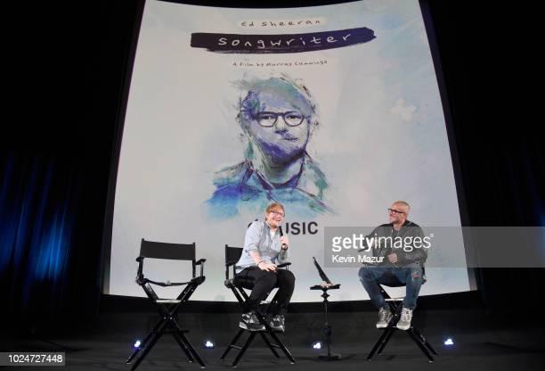 Ed Sheeran and Apple Music's Zane Lowe speak onstage at Apple Music Presents 'Songwriter' With Ed Sheeran in Los Angeles at ArcLight Cinemas Cinerama...