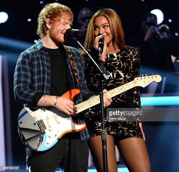 Ed Sheeran and Beyonce perform onstage during Stevie Wonder Songs In The Key Of Life An AllStar GRAMMY Salute at Nokia Theatre LA Live on February 10...
