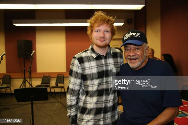 Ed Sheeran and Bill Withers watch as artists rehearse for the Lean On Him A Tribute To Bill Withers show on September 30 2015 in New York City