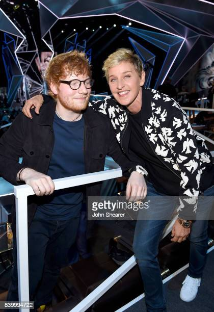 Ed Sheeran and Ellen DeGeneres pose during the 2017 MTV Video Music Awards at The Forum on August 27 2017 in Inglewood California