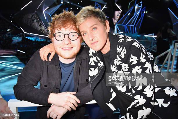 Ed Sheeran and Ellen DeGeneres pose together during the 2017 MTV Video Music Awards at The Forum on August 27 2017 in Inglewood California