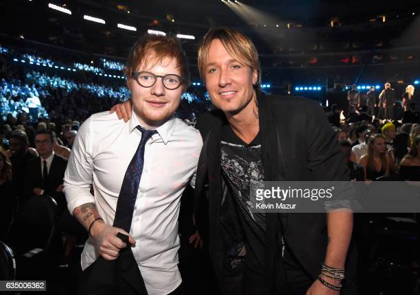 Ed Sheeran and Keith Urban during The 59th GRAMMY Awards at STAPLES Center on February 12 2017 in Los Angeles California