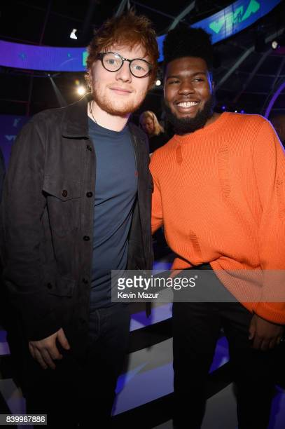 Ed Sheeran and Khalid attend the 2017 MTV Video Music Awards at The Forum on August 27 2017 in Inglewood California