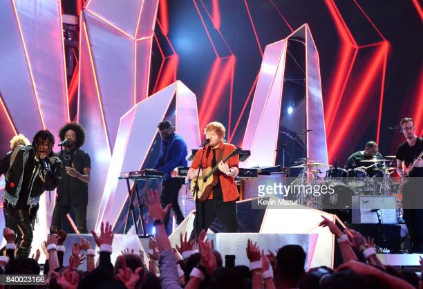 Ed Sheeran and Lil Uzi Vert perform during the 2017 MTV Video Music Awards at The Forum on August 27 2017 in Inglewood California