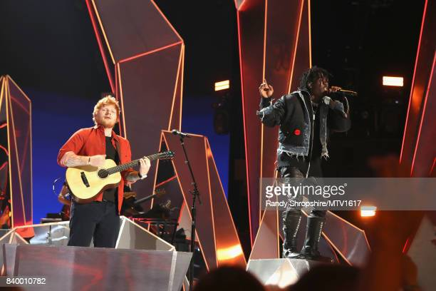 Ed Sheeran and Lil Uzi Vert perform onstage during the 2017 MTV Video Music Awards at The Forum on August 27 2017 in Inglewood California